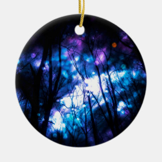 Fantasy Starry Forest 7 Round Ceramic Ornament
