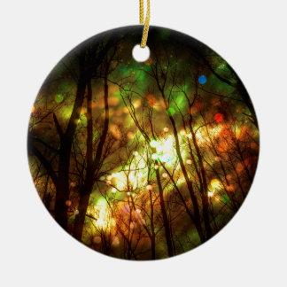 Fantasy Starry Forest Round Ceramic Ornament
