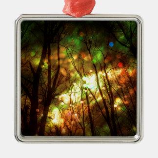Fantasy Starry Forest Silver-Colored Square Ornament