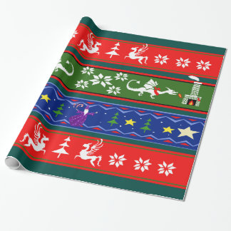 Fantasy Style Ugly Sweater Pattern Wrapping Paper