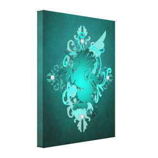 Fantasy Teal Unicorn Enchanting Canvas Print