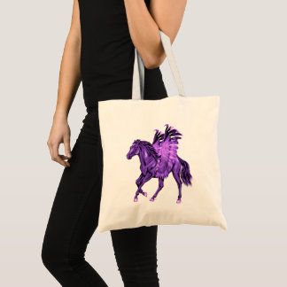 Fantasy Theme Purple Pegasus Winged Horse Tote Bag