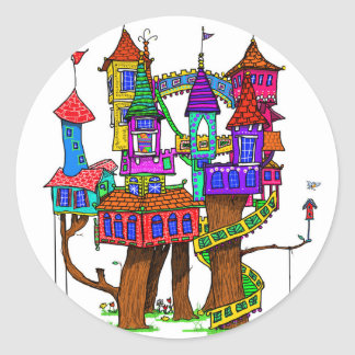 Fantasy Treehouse Classic Round Sticker