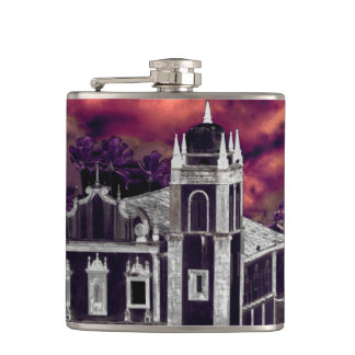 Fantasy Tropical Cityscape Aerial View Hip Flask
