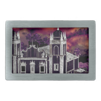 Fantasy Tropical Cityscape Aerial View Rectangular Belt Buckles