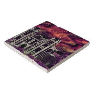 Fantasy Tropical Cityscape Aerial View Trivet