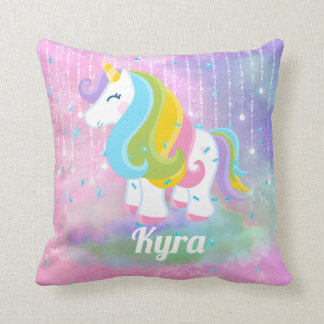 Fantasy unicorn add name home decor pillow