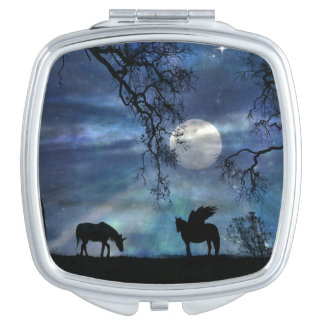 Fantasy Unicorn and Pegasus Compact Mirror
