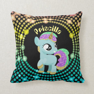 Fantasy unicorn customizable girls room pillow
