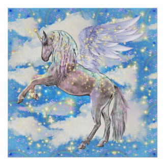 Fantasy unicorn girls room decor poster