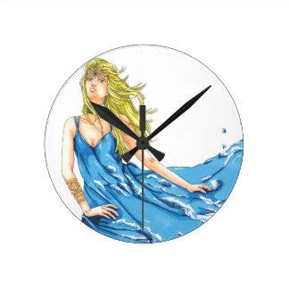 Fantasy Water Elf Elemental Round Clock