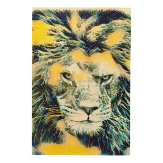 Fantasy Water Lion Wildlife Watercolor Art Wood Canvas