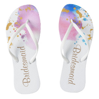 Fantasy Watercolor Bridesmaid Wedding Flip Flops