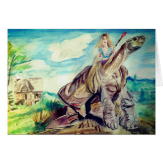 Fantasy watercolor greeting card of giant turtle