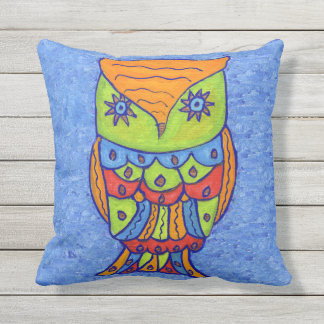Fantasy Whimsical Owl Star Eyes Neon Colors Throw Pillow