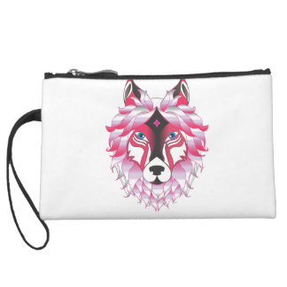 Fantasy Wolf Animal Suede Wristlet