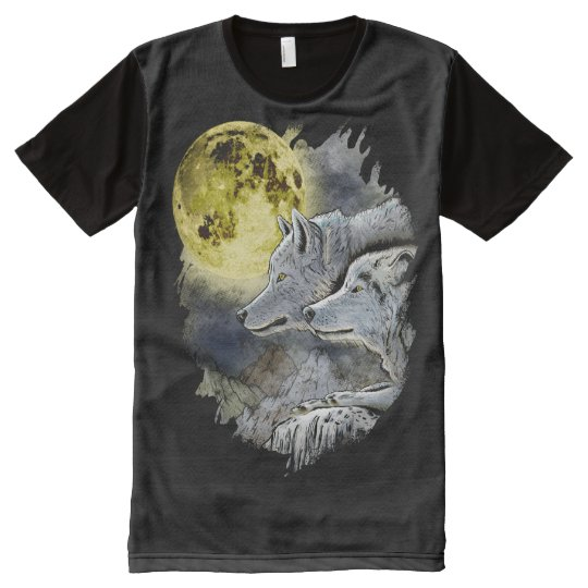 Fantasy Wolf Moon Mountain All-Over-Print T-Shirt