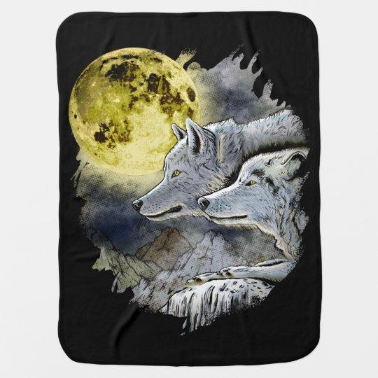 Fantasy Wolf Moon Mountain Baby Blanket