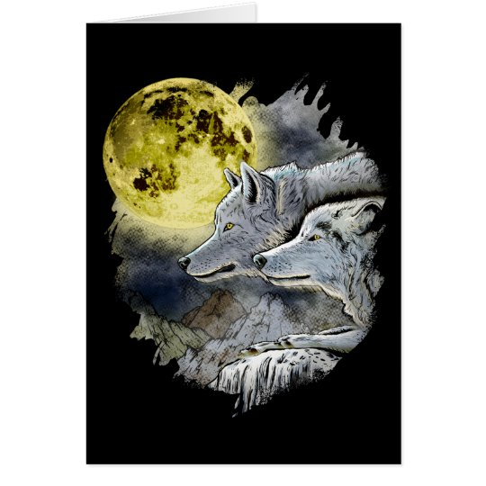 Fantasy Wolf Moon Mountain Card