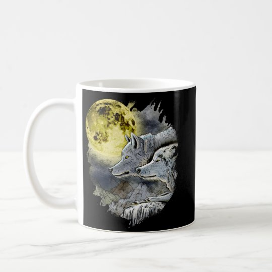 Fantasy Wolf Moon Mountain Coffee Mug