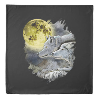 Fantasy Wolf Moon Mountain Duvet Cover