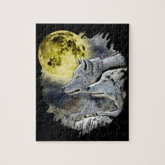 Fantasy Wolf Moon Mountain Jigsaw Puzzle