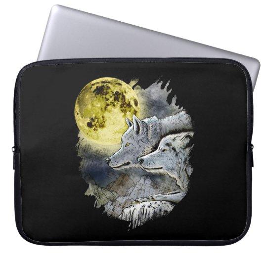 Fantasy Wolf Moon Mountain Laptop Sleeve