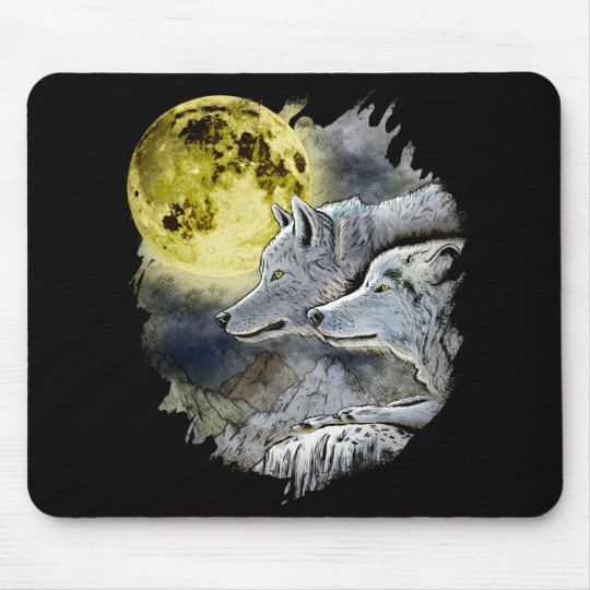 Fantasy Wolf Moon Mountain Mouse Pad