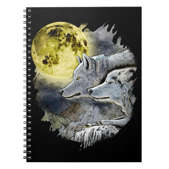 Fantasy Wolf Moon Mountain Notebooks