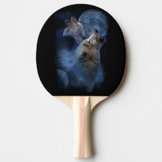 Fantasy Wolf Moon Mountain Ping Pong Paddle