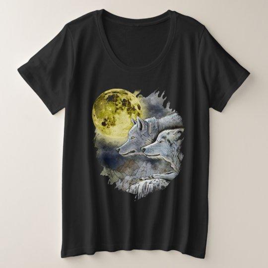 Fantasy Wolf Moon Mountain Plus Size T-Shirt