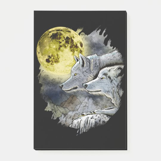 Fantasy Wolf Moon Mountain Post-it Notes