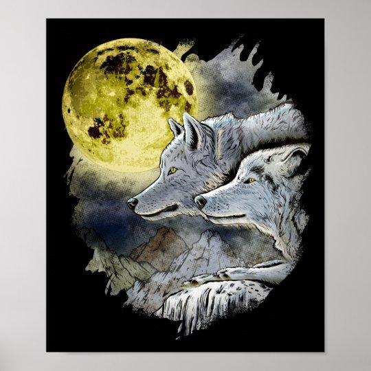 Fantasy Wolf Moon Mountain Poster