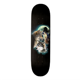 Fantasy Wolf Moon Mountain Skateboard Deck