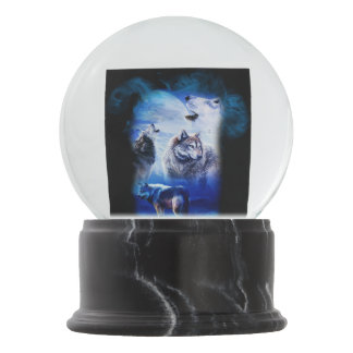 Fantasy Wolf Moon Mountain Snow Globe