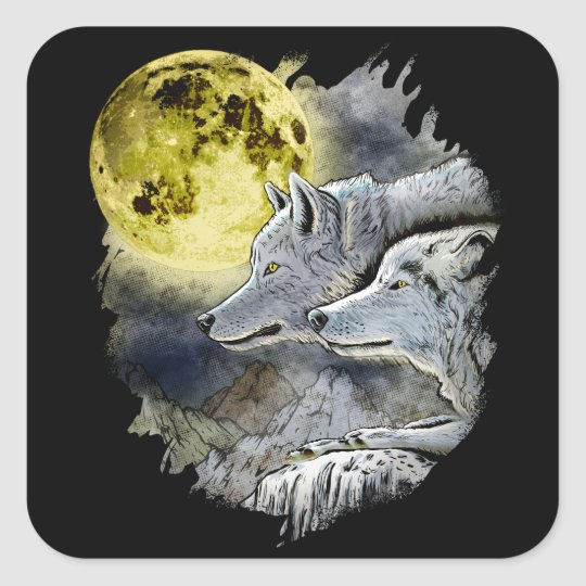 Fantasy Wolf Moon Mountain Square Sticker