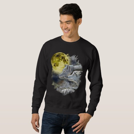 Fantasy Wolf Moon Mountain Sweatshirt