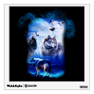 Fantasy Wolf Moon Mountain Wall Decal