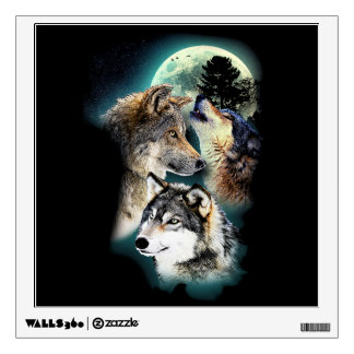 Fantasy Wolf Moon Mountain Wall Sticker