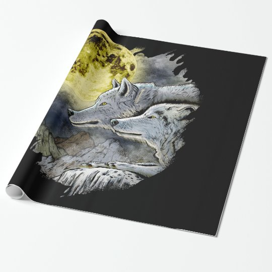 Fantasy Wolf Moon Mountain Wrapping Paper