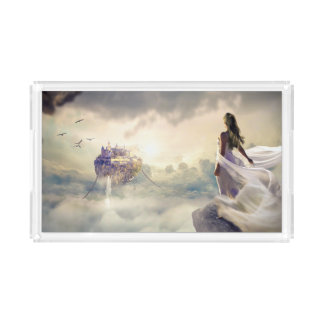 Fantasy Woman and Island Castle in the Clouds Acrylic Tray