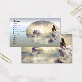 Fantasy Woman and Island Castle in the Clouds Business Card