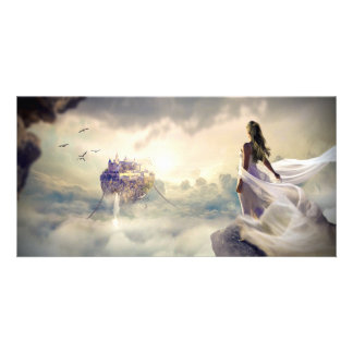 Fantasy Woman and Island Castle in the Clouds Card