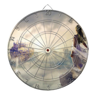 Fantasy Woman and Island Castle in the Clouds Dartboard