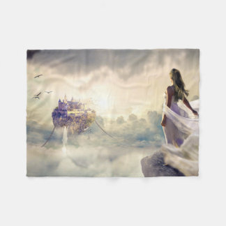 Fantasy Woman and Island Castle in the Clouds Fleece Blanket