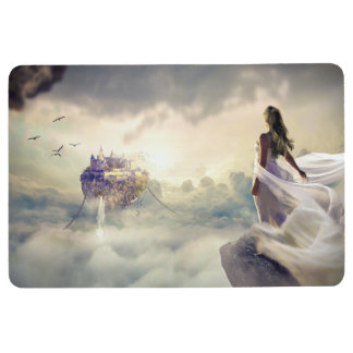 Fantasy Woman and Island Castle in the Clouds Floor Mat