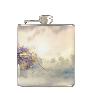 Fantasy Woman and Island Castle in the Clouds Hip Flask