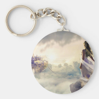 Fantasy Woman and Island Castle in the Clouds Keychain