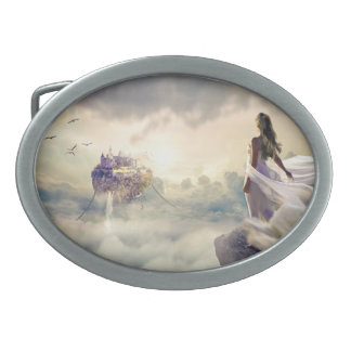 Fantasy Woman and Island Castle in the Clouds Oval Belt Buckle