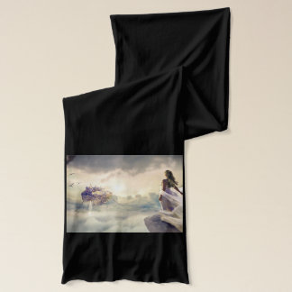 Fantasy Woman and Island Castle in the Clouds Scarf